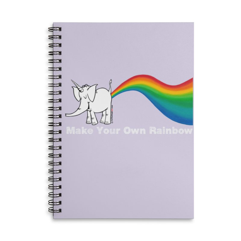 Make Your Own Rainbow ( White Lettering ) - Cy The Elephart Accessories Lined Spiral Notebook by Cy The Elephart's phArtist Shop