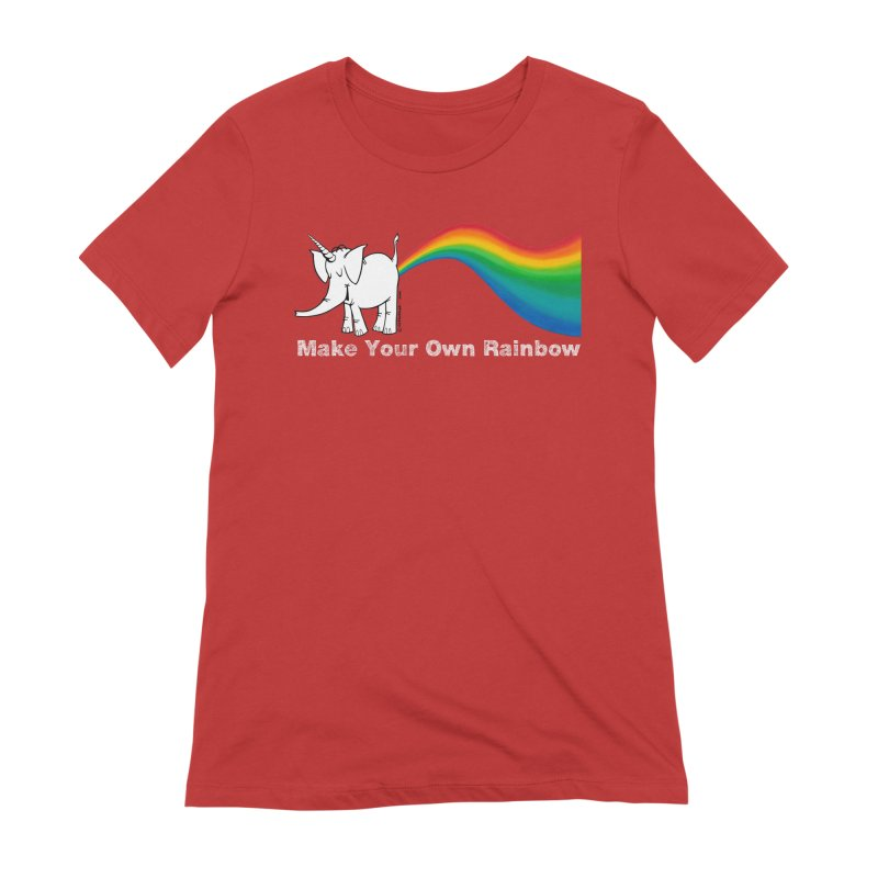 Make Your Own Rainbow ( White Lettering ) - Cy The Elephart Women's Extra Soft T-Shirt by Cy The Elephart's phArtist Shop