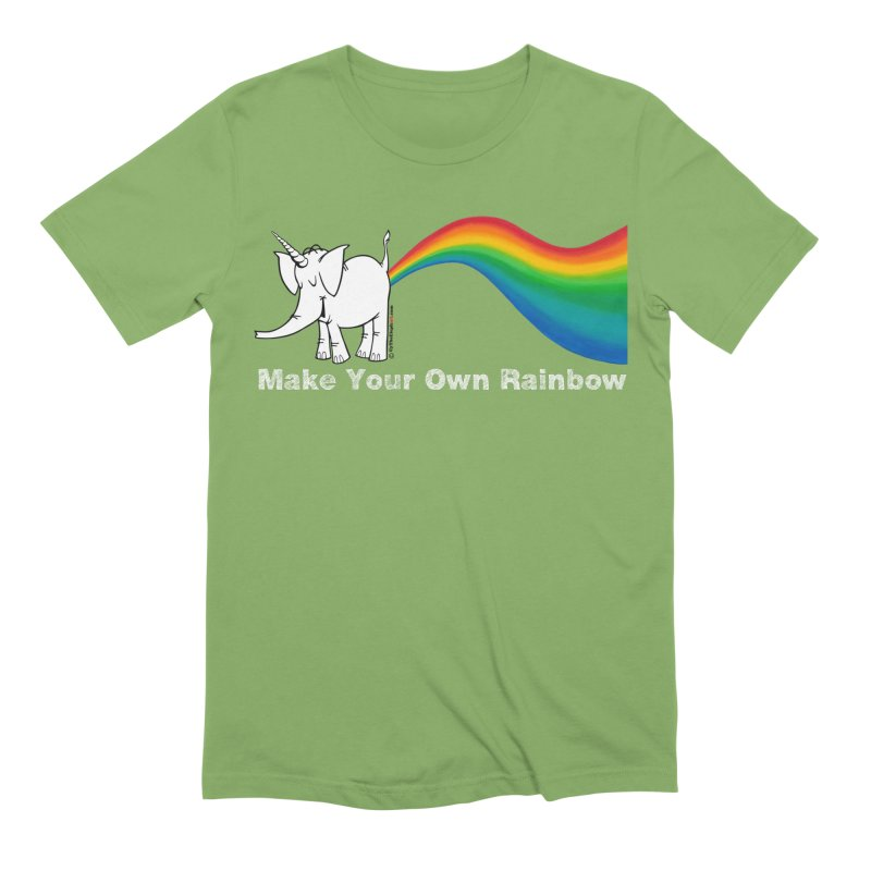 Make Your Own Rainbow ( White Lettering ) - Cy The Elephart Men's Extra Soft T-Shirt by Cy The Elephart's phArtist Shop