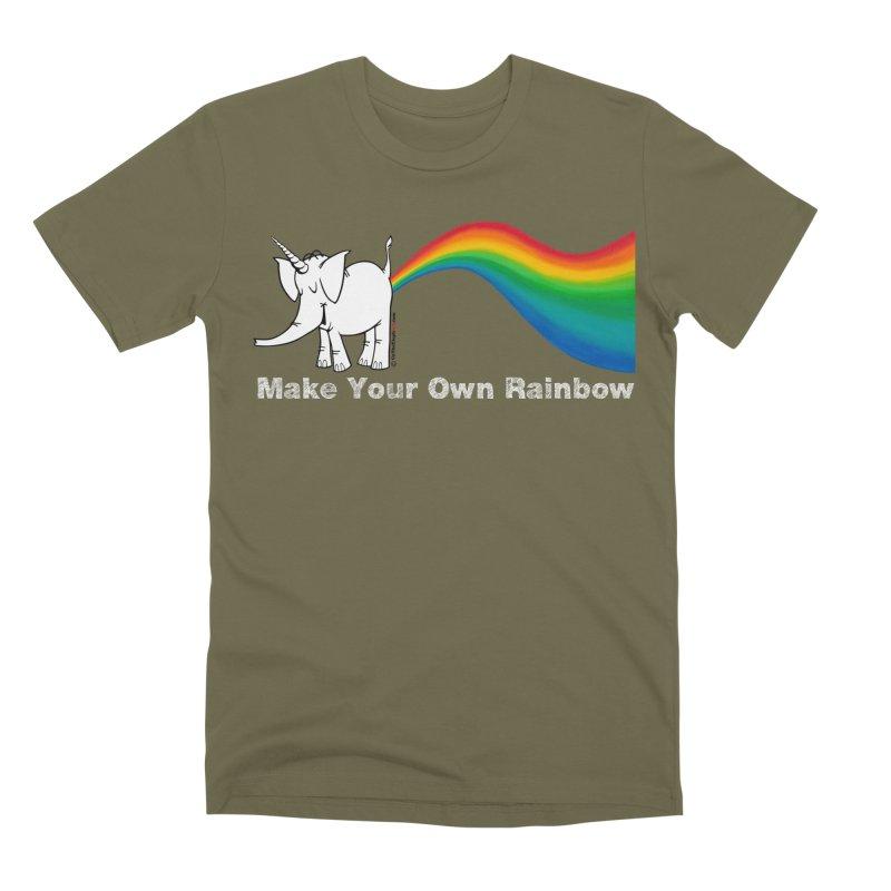 Make Your Own Rainbow ( White Lettering ) - Cy The Elephart Men's Premium T-Shirt by Cy The Elephart's phArtist Shop