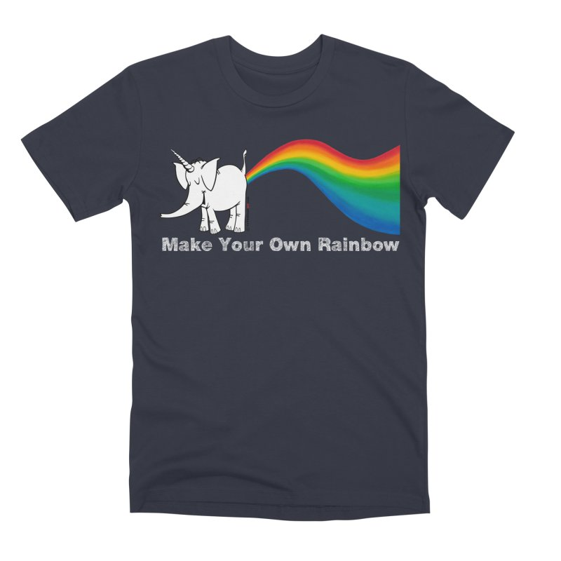 Make Your Own Rainbow ( White Lettering ) - Cy The Elephart Men's T-Shirt by Cy The Elephart's phArtist Shop