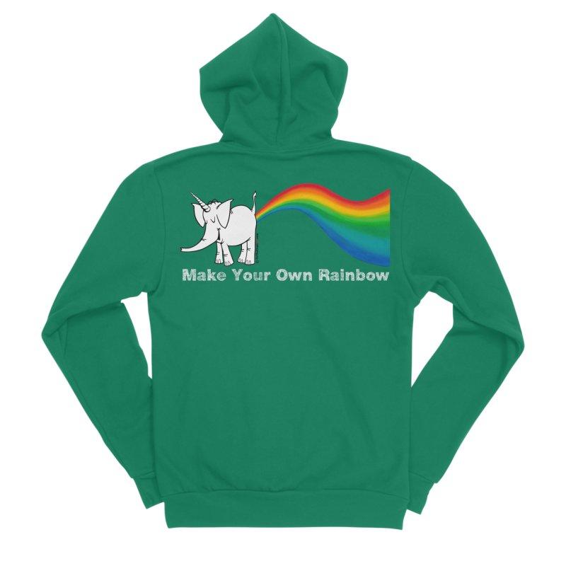 Make Your Own Rainbow ( White Lettering ) - Cy The Elephart Men's Sponge Fleece Zip-Up Hoody by Cy The Elephart's phArtist Shop