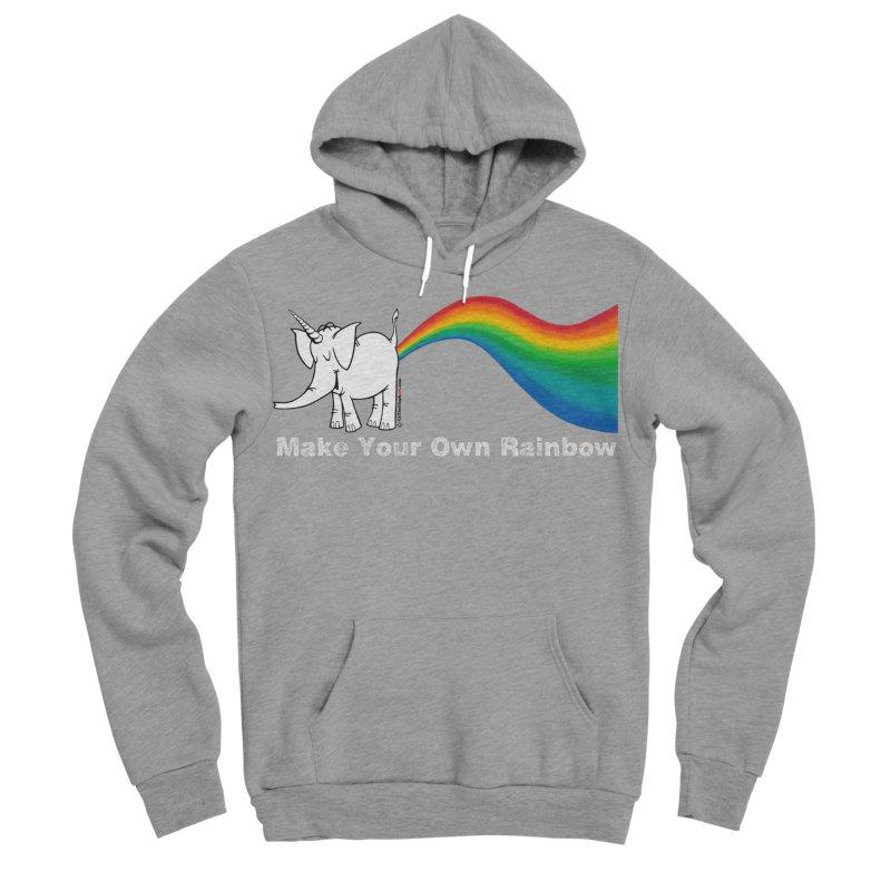 Make Your Own Rainbow ( White Lettering ) - Cy The Elephart Men's Sponge Fleece Pullover Hoody by Cy The Elephart's phArtist Shop