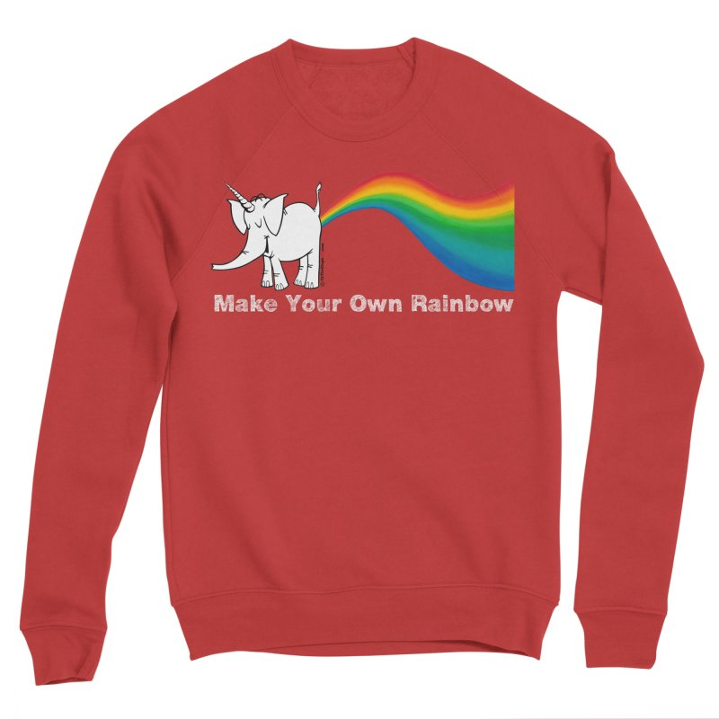 Make Your Own Rainbow ( White Lettering ) - Cy The Elephart Women's Sponge Fleece Sweatshirt by Cy The Elephart's phArtist Shop