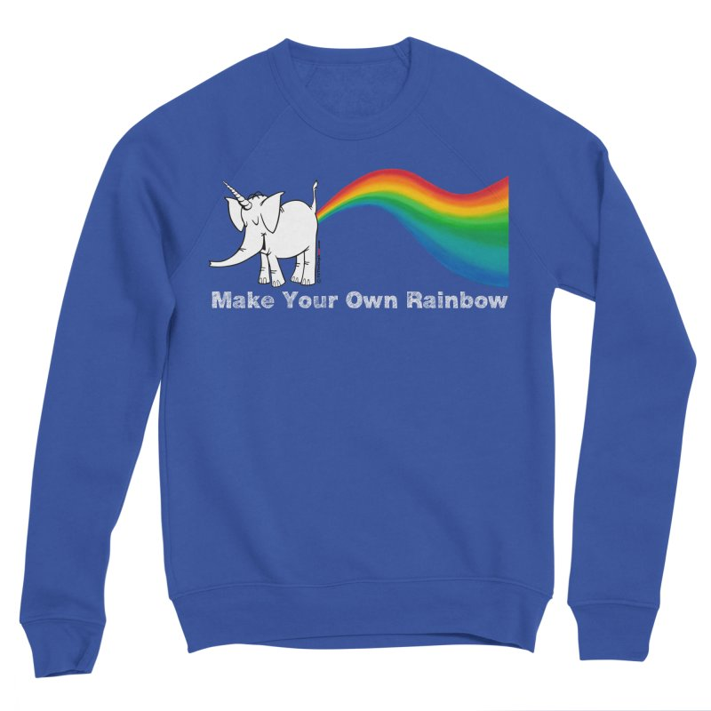 Make Your Own Rainbow ( White Lettering ) - Cy The Elephart Women's Sweatshirt by Cy The Elephart's phArtist Shop