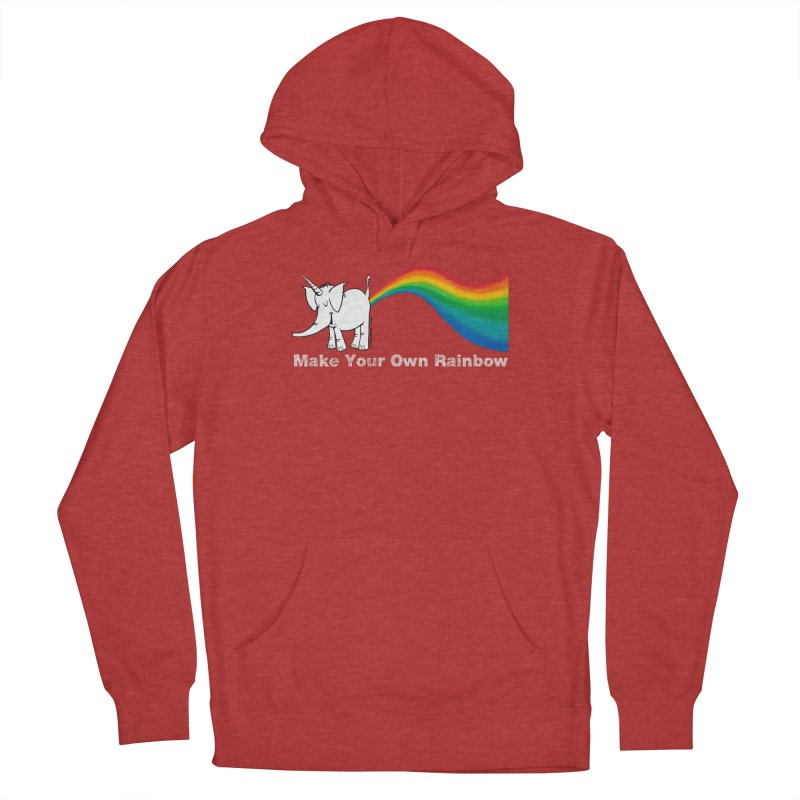 Make Your Own Rainbow ( White Lettering ) - Cy The Elephart Men's French Terry Pullover Hoody by Cy The Elephart's phArtist Shop