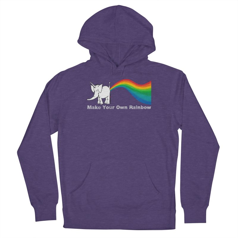 Make Your Own Rainbow ( White Lettering ) - Cy The Elephart Women's French Terry Pullover Hoody by Cy The Elephart's phArtist Shop