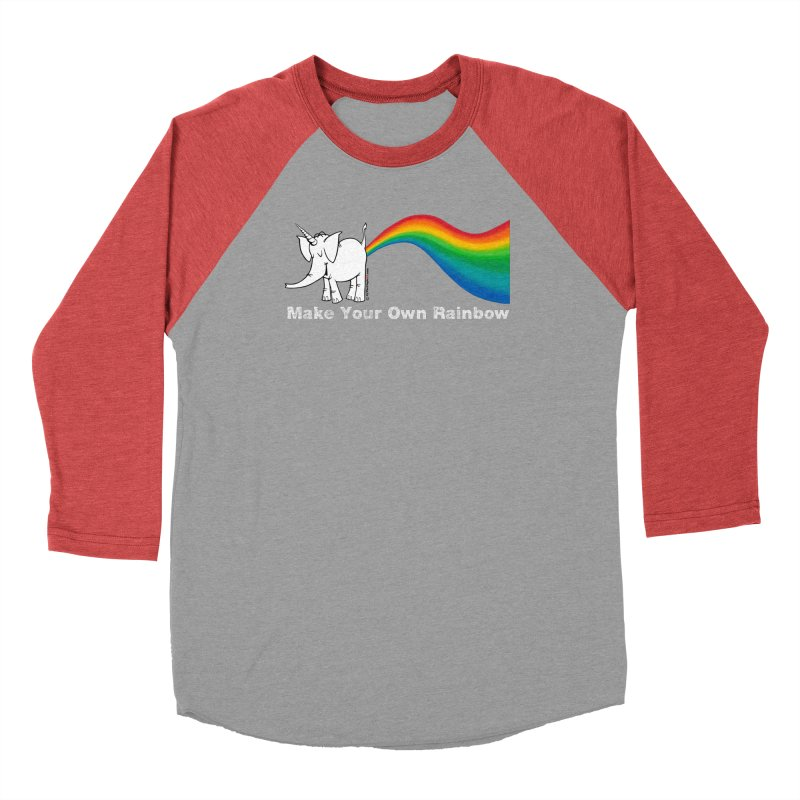 Make Your Own Rainbow ( White Lettering ) - Cy The Elephart Women's Baseball Triblend Longsleeve T-Shirt by Cy The Elephart's phArtist Shop