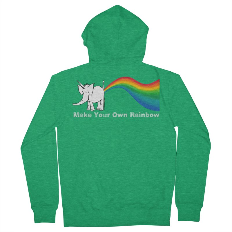 Make Your Own Rainbow ( White Lettering ) - Cy The Elephart Women's French Terry Zip-Up Hoody by Cy The Elephart's phArtist Shop