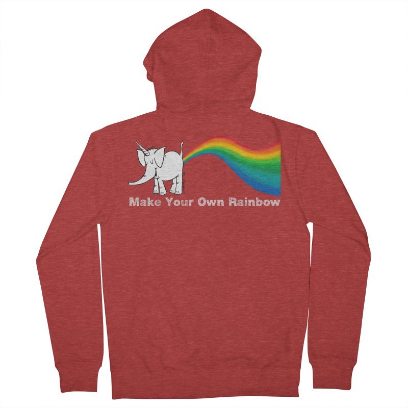 Make Your Own Rainbow ( White Lettering ) - Cy The Elephart Men's French Terry Zip-Up Hoody by Cy The Elephart's phArtist Shop