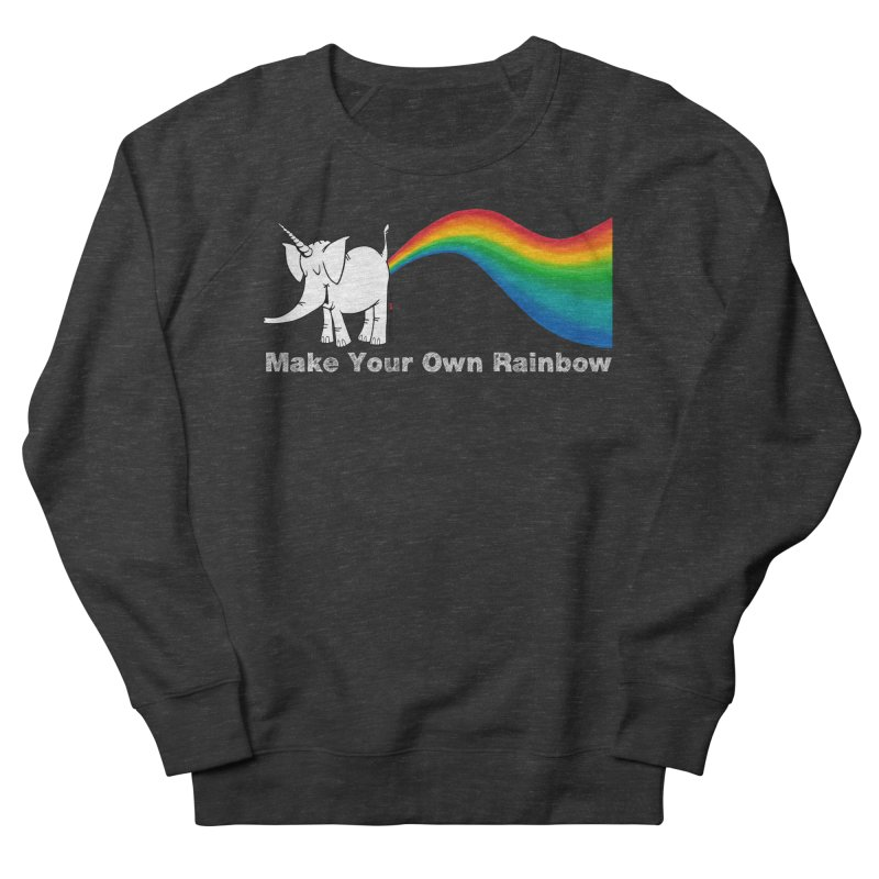 Make Your Own Rainbow ( White Lettering ) - Cy The Elephart Men's French Terry Sweatshirt by Cy The Elephart's phArtist Shop