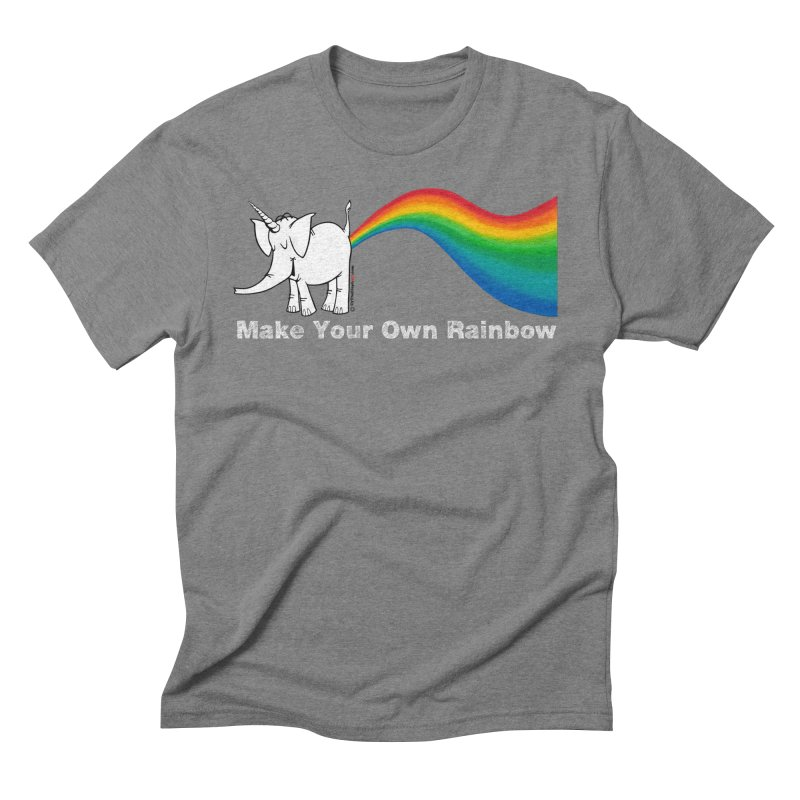 Make Your Own Rainbow ( White Lettering ) - Cy The Elephart Men's Triblend T-Shirt by Cy The Elephart's phArtist Shop