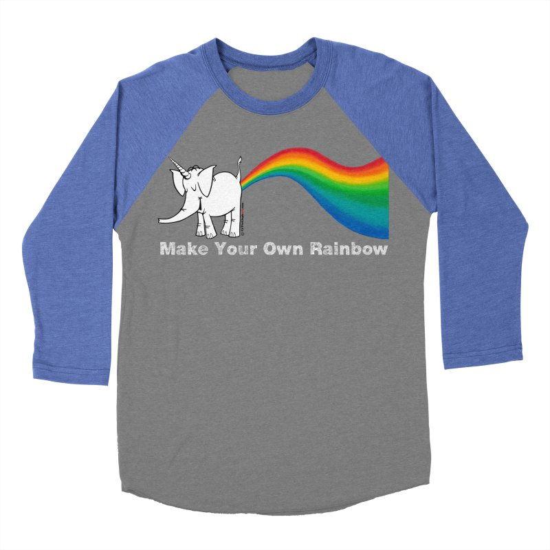 Make Your Own Rainbow ( White Lettering ) - Cy The Elephart Women's Baseball Triblend Longsleeve T-Shirt by Cy The Elephart's phArtist Shop