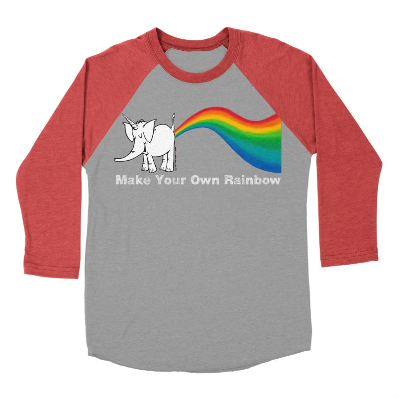 Make Your Own Rainbow ( White Lettering ) - Cy The Elephart Men's Baseball Triblend Longsleeve T-Shirt by Cy The Elephart's phArtist Shop