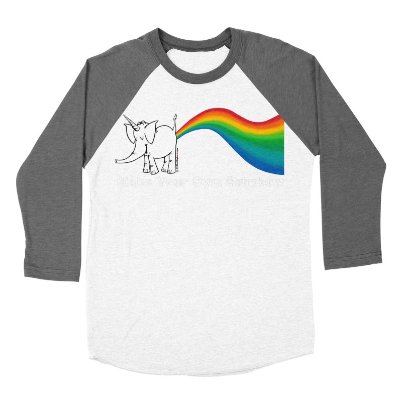 Make Your Own Rainbow ( White Lettering ) - Cy The Elephart Men's Longsleeve T-Shirt by Cy The Elephart's phArtist Shop