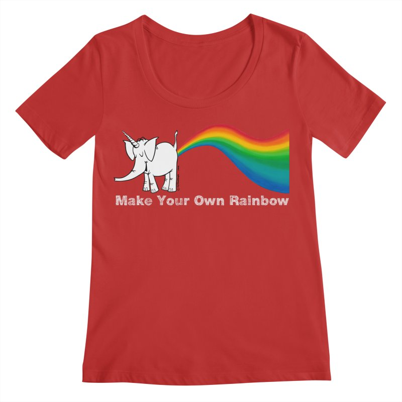 Make Your Own Rainbow ( White Lettering ) - Cy The Elephart Women's Scoop Neck by Cy The Elephart's phArtist Shop