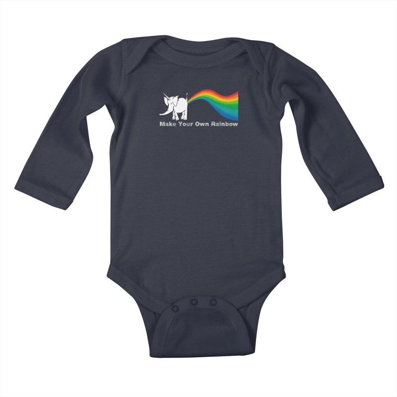 Make Your Own Rainbow ( White Lettering ) - Cy The Elephart Kids Baby Longsleeve Bodysuit by Cy The Elephart's phArtist Shop