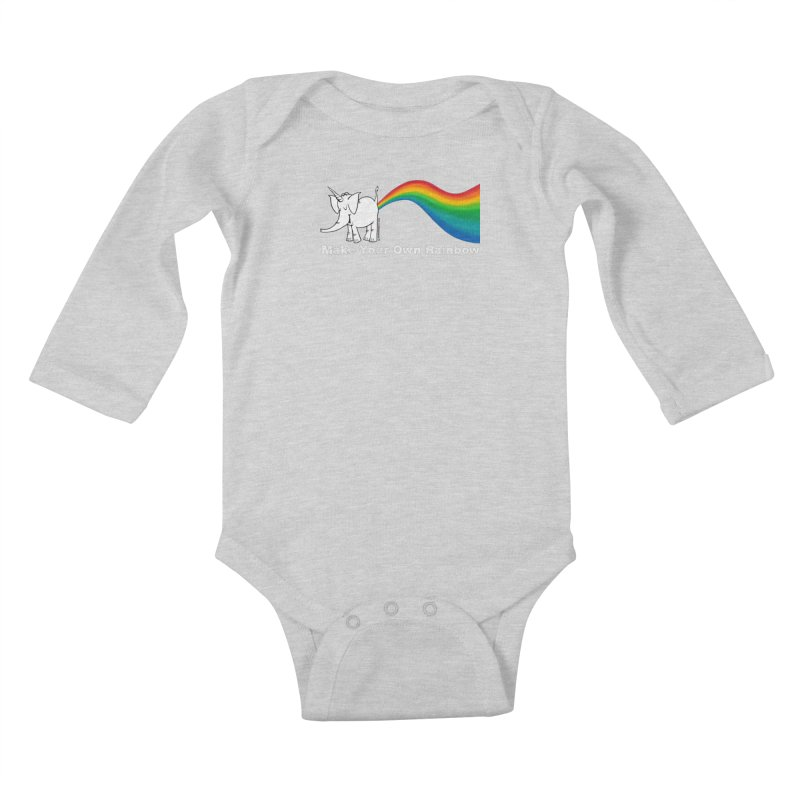 Make Your Own Rainbow ( White Lettering ) - Cy The Elephart Kids Baby Longsleeve Bodysuit by Cy The Elephart's phArtist Shop