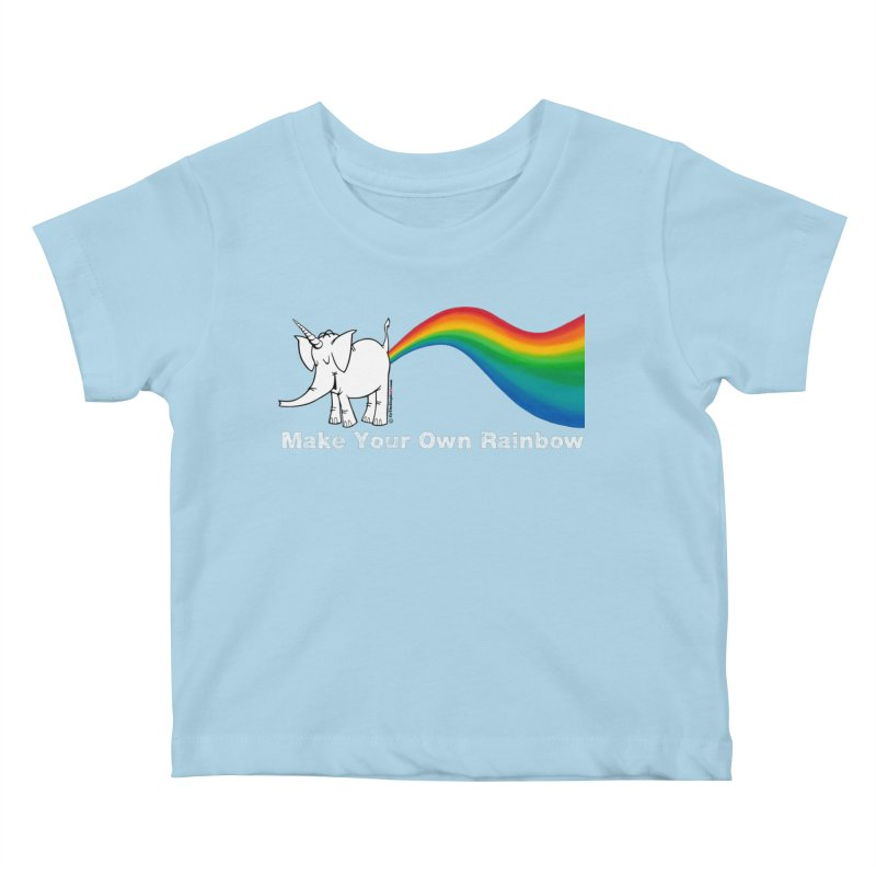 Make Your Own Rainbow ( White Lettering ) - Cy The Elephart Kids Baby T-Shirt by Cy The Elephart's phArtist Shop