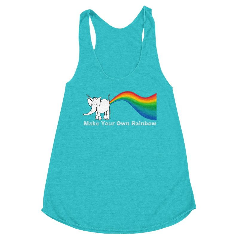Make Your Own Rainbow ( White Lettering ) - Cy The Elephart Women's Tank by Cy The Elephart's phArtist Shop