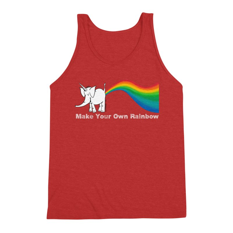 Make Your Own Rainbow ( White Lettering ) - Cy The Elephart Men's Tank by Cy The Elephart's phArtist Shop