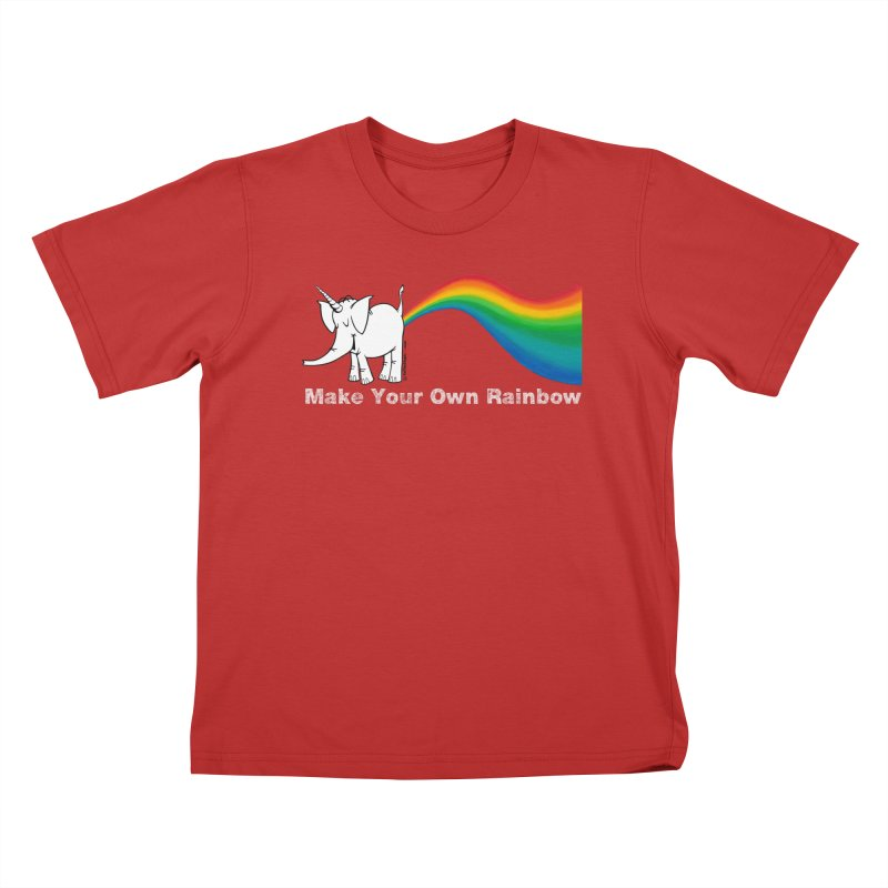 Make Your Own Rainbow ( White Lettering ) - Cy The Elephart Kids T-Shirt by Cy The Elephart's phArtist Shop