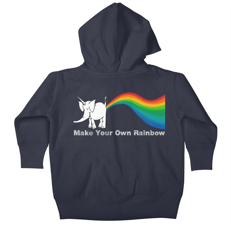 Make Your Own Rainbow ( White Lettering ) - Cy The Elephart Kids Baby Zip-Up Hoody by Cy The Elephart's phArtist Shop