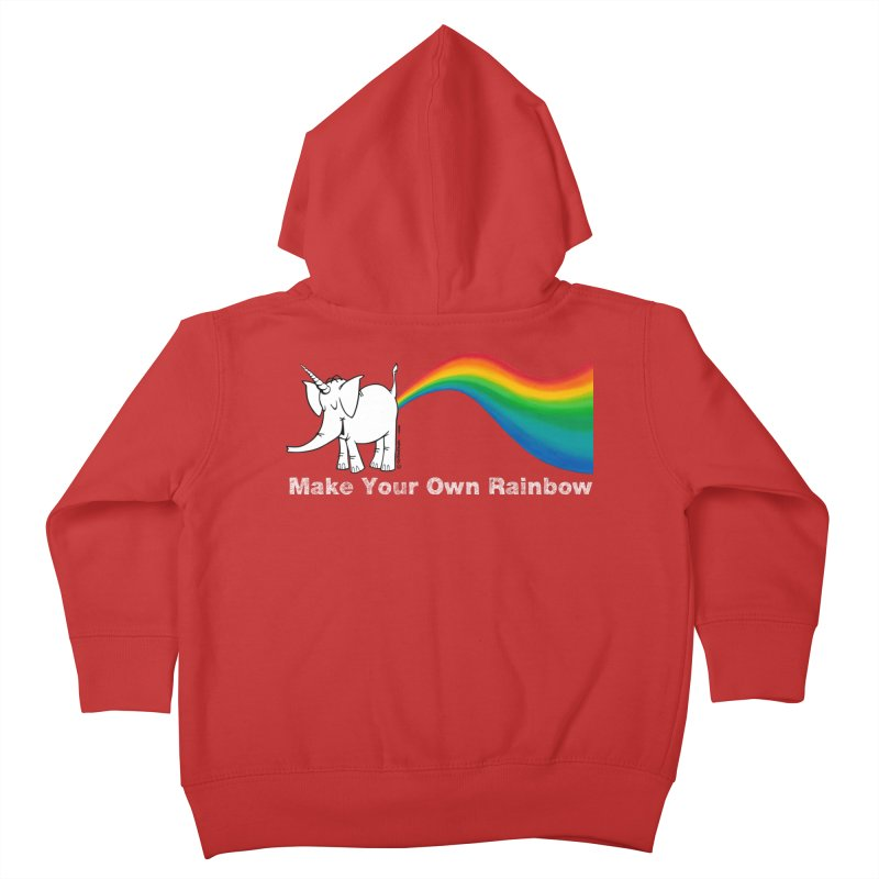 Make Your Own Rainbow ( White Lettering ) - Cy The Elephart Kids Toddler Zip-Up Hoody by Cy The Elephart's phArtist Shop