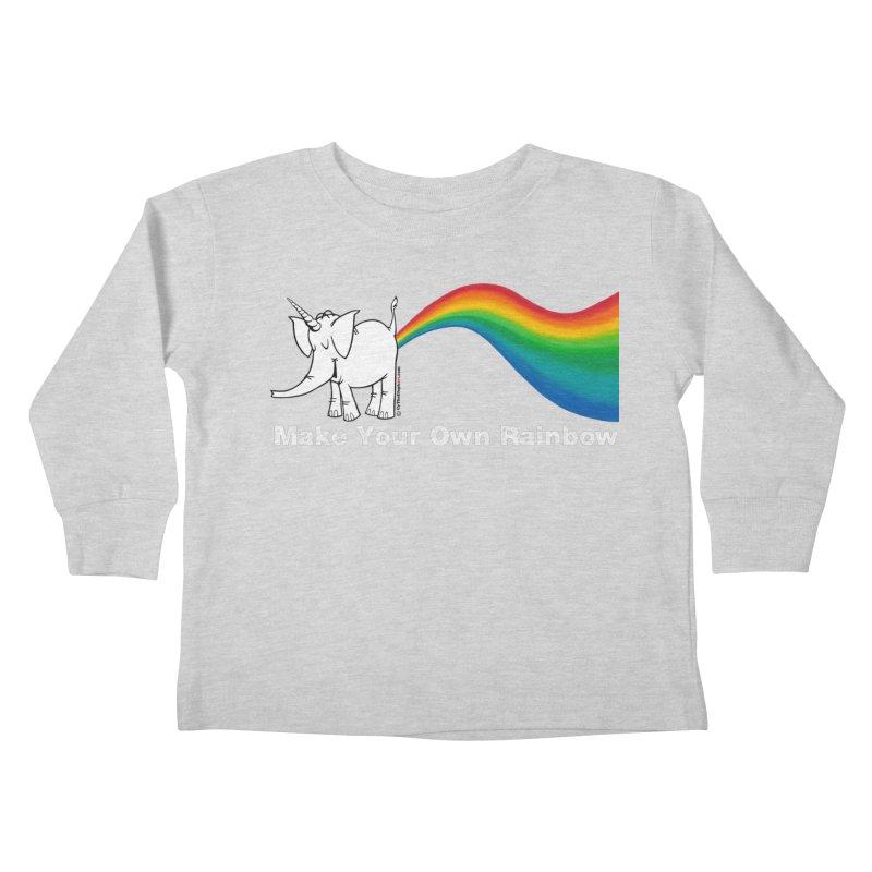 Make Your Own Rainbow ( White Lettering ) - Cy The Elephart Kids Toddler Longsleeve T-Shirt by Cy The Elephart's phArtist Shop
