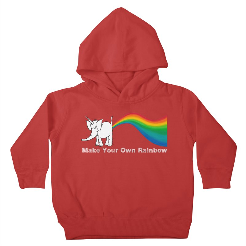 Make Your Own Rainbow ( White Lettering ) - Cy The Elephart Kids Toddler Pullover Hoody by Cy The Elephart's phArtist Shop