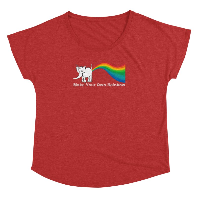 Make Your Own Rainbow ( White Lettering ) - Cy The Elephart Women's Dolman Scoop Neck by Cy The Elephart's phArtist Shop