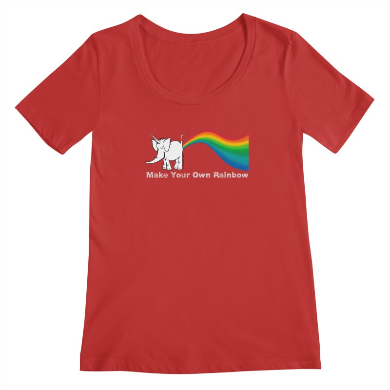 Make Your Own Rainbow ( White Lettering ) - Cy The Elephart Women's Regular Scoop Neck by Cy The Elephart's phArtist Shop