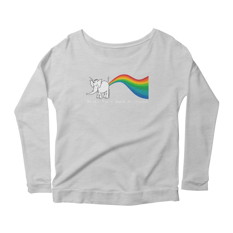 Make Your Own Rainbow ( White Lettering ) - Cy The Elephart Women's Scoop Neck Longsleeve T-Shirt by Cy The Elephart's phArtist Shop