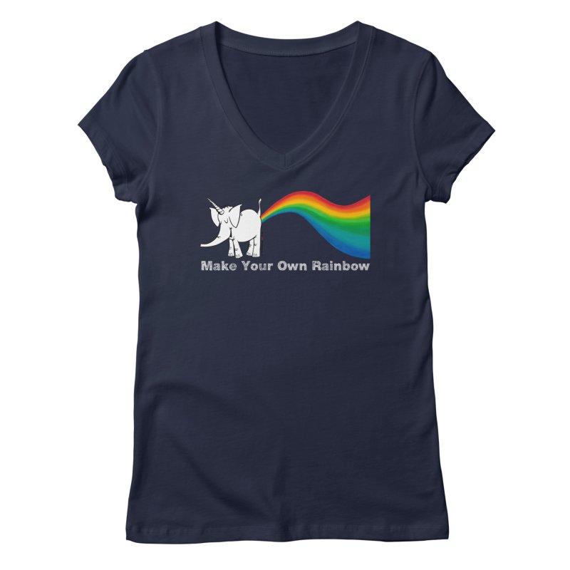 Make Your Own Rainbow ( White Lettering ) - Cy The Elephart Women's Regular V-Neck by Cy The Elephart's phArtist Shop