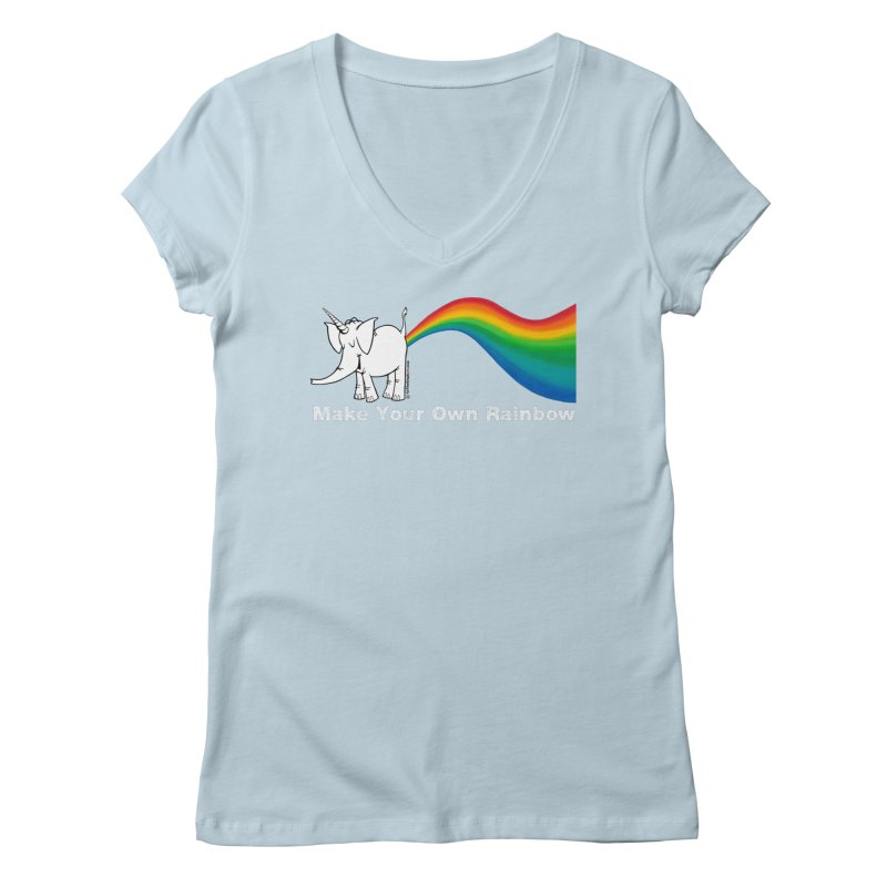 Make Your Own Rainbow ( White Lettering ) - Cy The Elephart Women's Regular V-Neck by Cy The Elephart's phArtist Shop