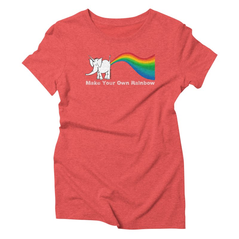 Make Your Own Rainbow ( White Lettering ) - Cy The Elephart Women's Triblend T-Shirt by Cy The Elephart's phArtist Shop