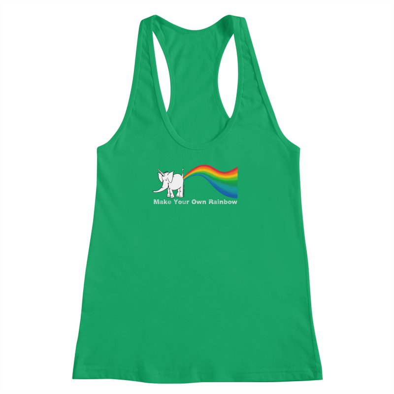 Make Your Own Rainbow ( White Lettering ) - Cy The Elephart Women's Racerback Tank by Cy The Elephart's phArtist Shop