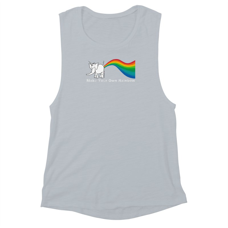 Make Your Own Rainbow ( White Lettering ) - Cy The Elephart Women's Muscle Tank by Cy The Elephart's phArtist Shop
