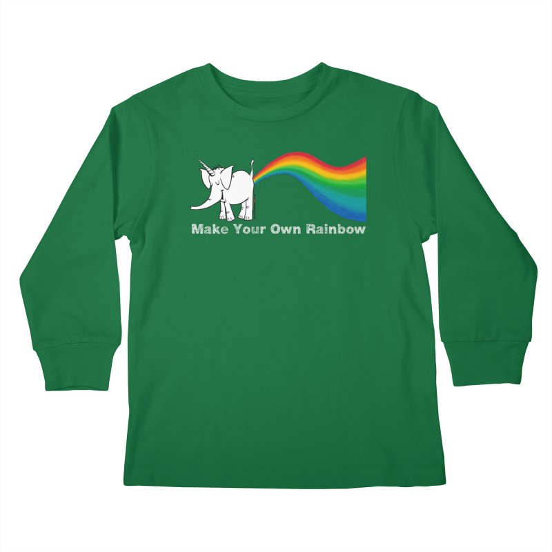Make Your Own Rainbow ( White Lettering ) - Cy The Elephart Kids Longsleeve T-Shirt by Cy The Elephart's phArtist Shop