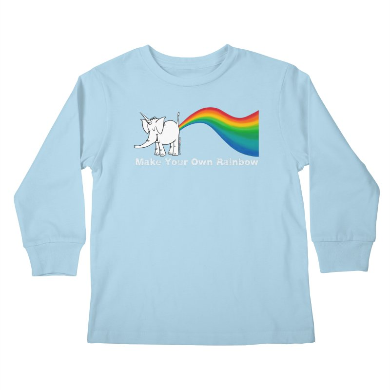 Make Your Own Rainbow ( White Lettering ) - Cy The Elephart Kids Longsleeve T-Shirt by Cy The Elephart's phArtist Shop
