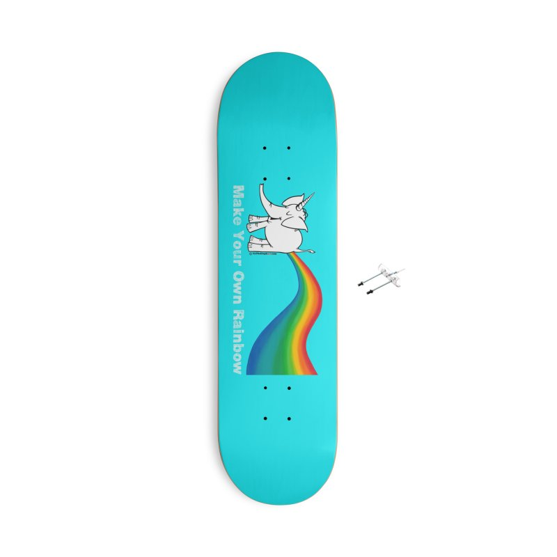 Make Your Own Rainbow ( White Lettering ) - Cy The Elephart Accessories With Hanging Hardware Skateboard by Cy The Elephart's phArtist Shop