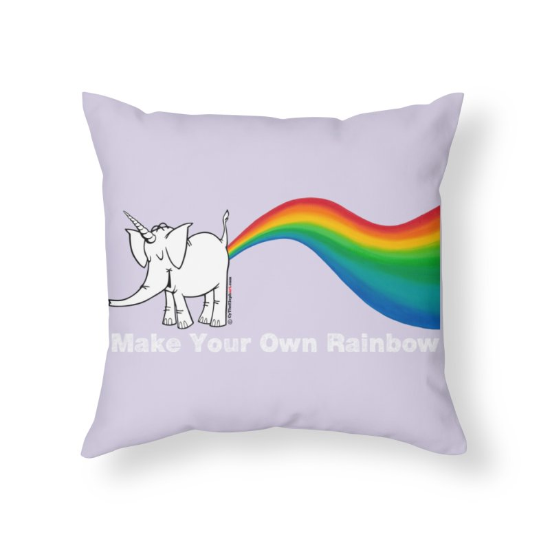 Make Your Own Rainbow ( White Lettering ) - Cy The Elephart Home Throw Pillow by Cy The Elephart's phArtist Shop