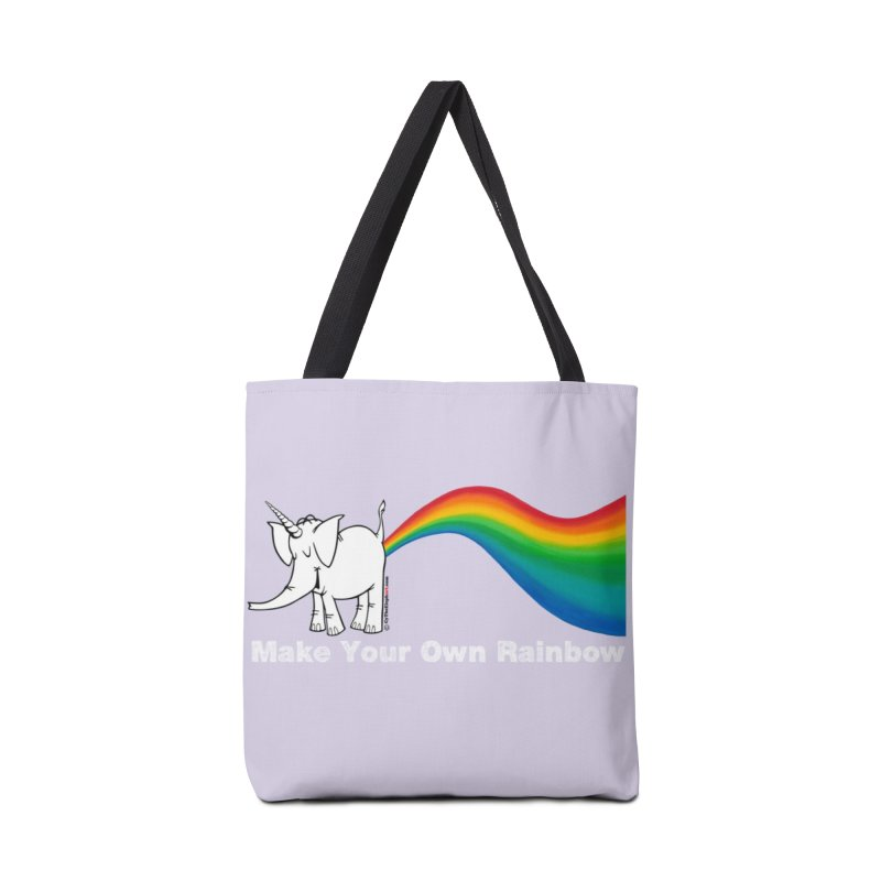 Make Your Own Rainbow ( White Lettering ) - Cy The Elephart Accessories Tote Bag Bag by Cy The Elephart's phArtist Shop