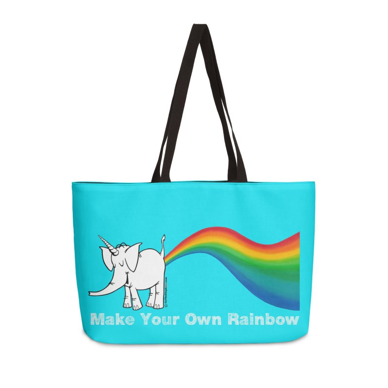 Make Your Own Rainbow ( White Lettering ) - Cy The Elephart Accessories Weekender Bag Bag by Cy The Elephart's phArtist Shop