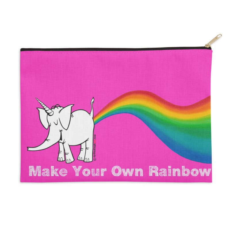Make Your Own Rainbow ( White Lettering ) - Cy The Elephart Accessories Zip Pouch by Cy The Elephart's phArtist Shop