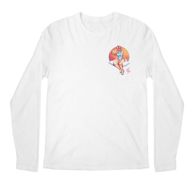 Daydream (Corner Chest) in Men's Regular Longsleeve T-Shirt White by CyndaChill's Apparel Shop