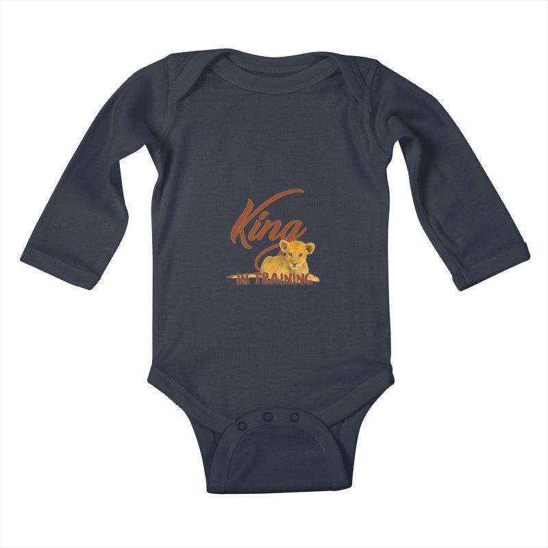 King In Training in Kids Baby Longsleeve Bodysuit Midnight by DC APPAREL