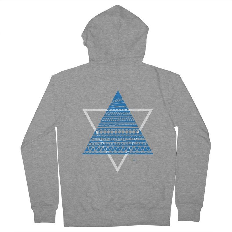 Pyramid blue Men's Zip-Up Hoody by DERG's Artist Shop