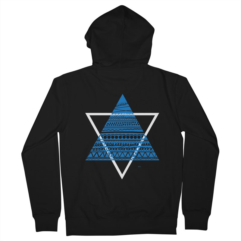 Pyramid blue Men's Zip-Up Hoody by DERG's Artist Shop