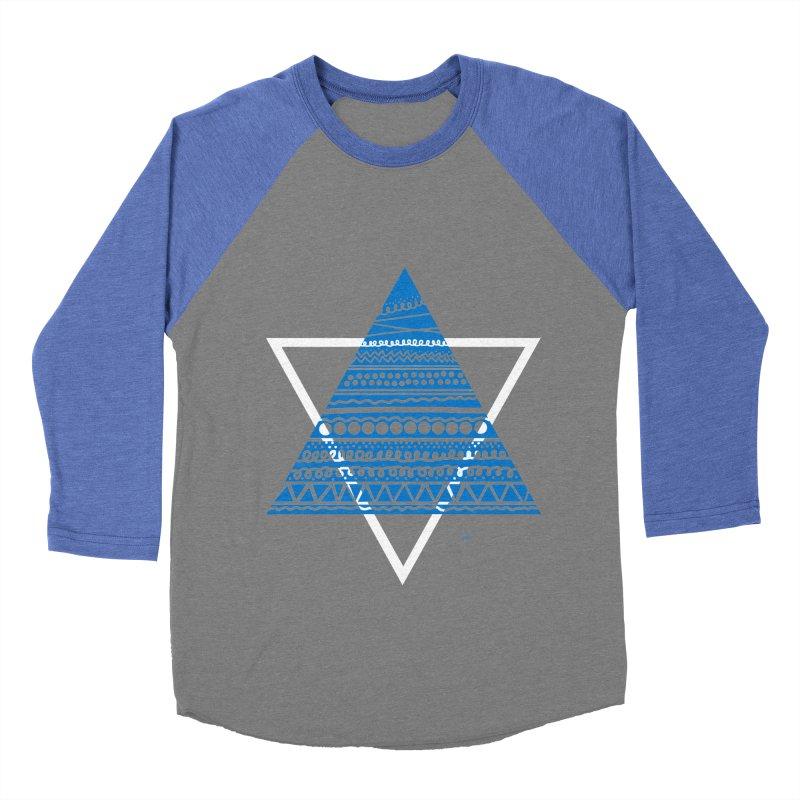 Pyramid blue Men's Baseball Triblend T-Shirt by DERG's Artist Shop